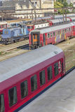 Romanian trains in depot Stock Photography
