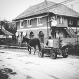 Romanian transportation. Vintage travel, village life, Romania, horseandcart, old fashioned royalty free stock photo