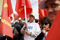 Romanian Unions Protest in Bucharest Stock Photography