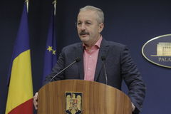 Romanian Vice Prime Minister Vasile Dincu press conference Royalty Free Stock Photos