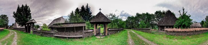 Village Panorama. Romanian Village Panorama with trees ands village roads Royalty Free Stock Photo