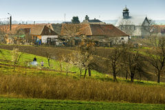 Romanian village. Remetea Mica is a Romanian village located in the west side of Romania. The shot is taken at the begining of spring Royalty Free Stock Images
