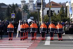 Romanian Voluntary Service for Emergency Situations st parade. Romanian Voluntary Service for Emergency Situations at parade on 1 December 2018 on the occasion stock images