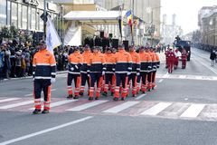 Romanian Voluntary Service for Emergency Situations st parade. Romanian Voluntary Service for Emergency Situations at parade on 1 December 2018 on the occasion stock photography