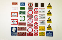 Romanian warning signs collection. Romanian warning and caution signs collection Stock Photography