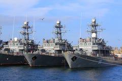 Romanian warships. Moored in harbor Constanta,Romania stock photo
