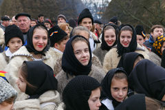 Romanian winter festival in Maramures Stock Photos