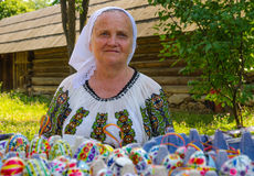 Romanian woman wearing in traditional costume Royalty Free Stock Photography