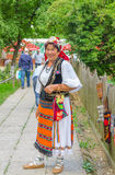Romanian woman wearing in traditional costume Royalty Free Stock Photos