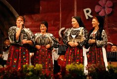 Romanian women folk singers at a festival Royalty Free Stock Images