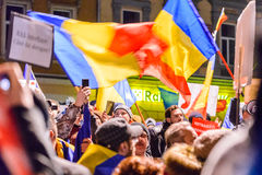 2017 - Romanians biggest anti-corruption protest in decades Royalty Free Stock Photos
