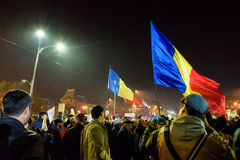 Romanians demonstrating against political corruption Royalty Free Stock Photo