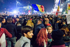 Romanians gathering at Piata Universitatii Stock Photo