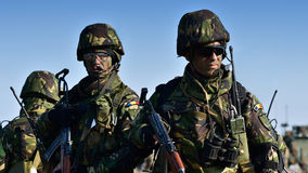 Romanians military with semiautomaticrifle Stock Image