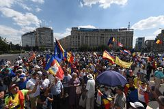 Romanians od zagranica protesta przeciw rzędowi obraz stock