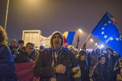 Romanians protest against government Royalty Free Stock Image