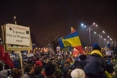 Romanians protest against government Stock Photo