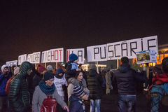 Romanians protest against government Stock Images
