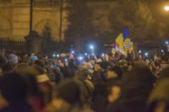 Romanians protest przeciw rzędowi obraz stock