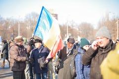 Romanians protest przed rzędem Obrazy Stock