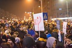 Romanians protest in Victoria Square Stock Photo