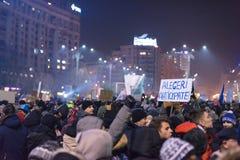 Romanians protest w Wiktoria kwadracie Obraz Stock