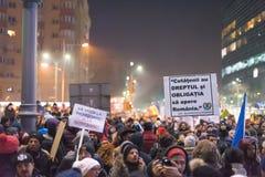 Romanians protest w Wiktoria kwadracie Zdjęcia Stock