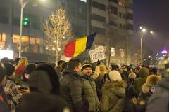 Romanians protest w Wiktoria kwadracie Obraz Royalty Free