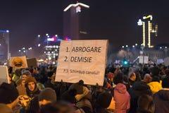 Romanians protest w Wiktoria kwadracie Zdjęcie Royalty Free
