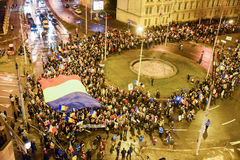 Romanians protesting against the Gouvernment in Sibiu Royalty Free Stock Photography