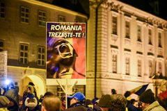 Romanians protesting against the Gouvernment in Sibiu Stock Photos