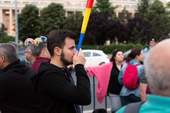 Romanians are protesting against the government Stock Images
