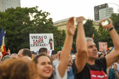 Romanians are protesting against the government royalty free stock photo
