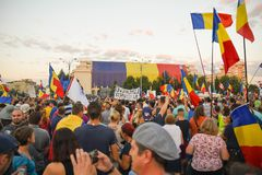 Romanians are protesting against the government stock photo