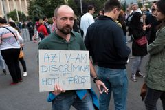 Romanians are protesting against the government Stock Photography