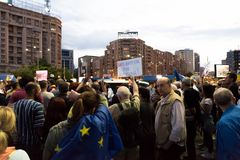 Romanians are protesting against the government Royalty Free Stock Photography