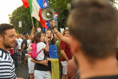 Romanians are protesting against the government stock image