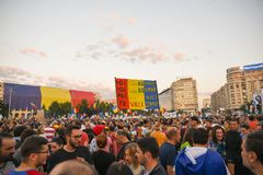 Romanians are protesting against the government stock photos