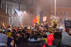 2017 - Romanians protests against prisoner pardon plan. Brasov, Stock Photography