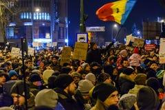 2017 - Romanians protests against prisoner pardon plan. Brasov, Stock Photos