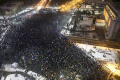 Romanians protests against  prisoner pardon plan. Bucharest, Romania - January 29, 2017: Fifty thousand people march through the Romanian capital to protest the Stock Photos