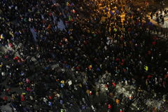 Romanians protests against  prisoner pardon plan. Bucharest, Romania - January 29, 2017: Fifty thousand people march through the Romanian capital to protest the Stock Photo