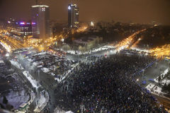 Romanians protests against  prisoner pardon plan. Bucharest, Romania - January 29, 2017: Fifty thousand people march through the Romanian capital to protest the Royalty Free Stock Images