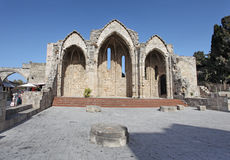 Romanic Basilica ruings in Rhodes Old Town. Greece Stock Images