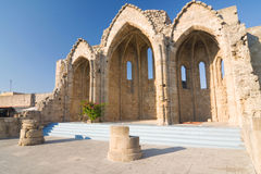 Romanic basilica ruins, old town of Rhodes, Greece Stock Image