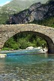 Romanic bridge of Bujaruelo in the region of Aragón in Spain. The river Ara is a river in the northeast of Spain, on the southern slope of the Pyrenees, which Stock Photo