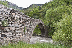 Romanic bridge at la Margineda, Andorra Royalty Free Stock Image