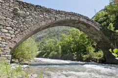 Romanic bridge at la Margineda, Andorra Royalty Free Stock Photos