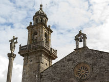 Romanic church facade. Facade of the romanesque ex-collegiate church of Santa Maria (Muros, Spain Stock Photo