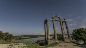 Romanic ruins. Nightscape of a romanic ruins in extremadura Royalty Free Stock Images
